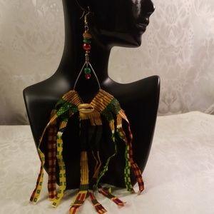 Kente cloth Fringes oval hoops earrings